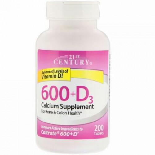 21st Century, 600+D3, カルシウムサプリメント, 200錠 (Discontinued Item)
