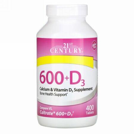 21st Century, 600+D3, Calcium & Vitamin D3 Supplement, 400 Caplets