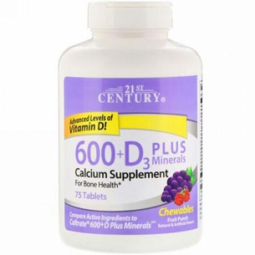 21st Century, 600 + D3 プラスミネラル 噛める錠剤, フルーツパンチ, 75 錠 (Discontinued Item)