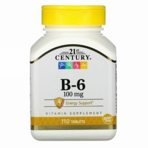 21st Century, B-6, 100 mg, 110錠