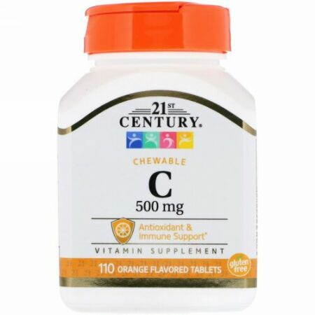 21st Century, Chewable C, 500 mg, 110 Orange Flavored Tablets