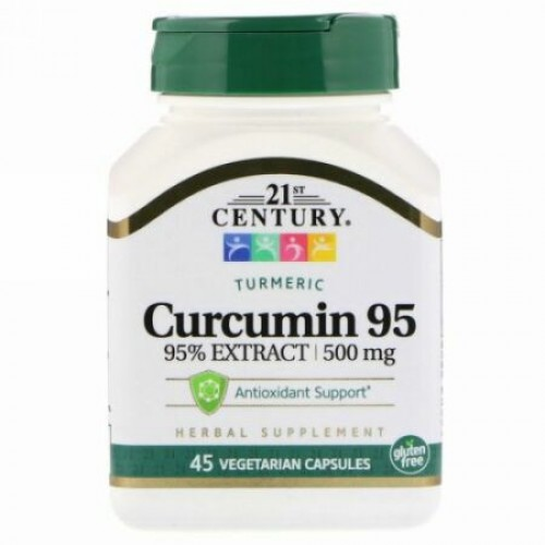 21st Century, クルクミン95、500 mg、植物性カプセル45錠