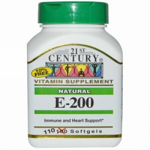 21st Century, E-200、天然、ソフトジェル110 錠 (Discontinued Item)