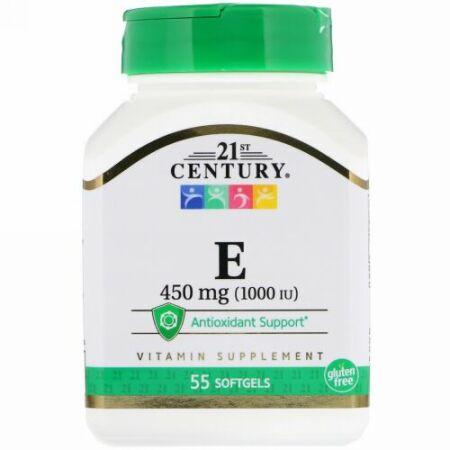 21st Century, E, 450 mg (1,000 IU), 55 Softgels