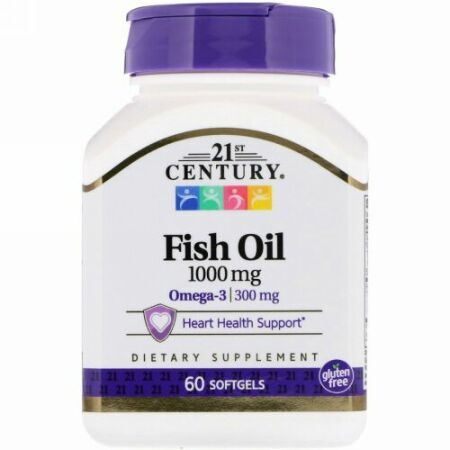 21st Century, フィッシュオイル、1000 mg、ソフトジェル60個