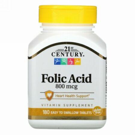 21st Century, Folic Acid, 800 mcg, 180 Easy to Swallow Tablets