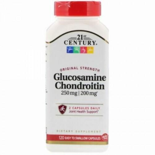 21st Century, Glucosamine 250 mg  Chondroitin 200 mg, Original Strength, 120 Easy to Swallow Capsules