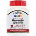 21st Century, グルコサミン500 mg コンドロイチン400 mg, 2倍強度, 60カプセル(容易に嚥下可能)