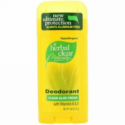 21st Century, Herbal Clear Naturally!, Deodorant, Clear Aloe Fresh, 2.65 oz (75 g) (Discontinued Item)
