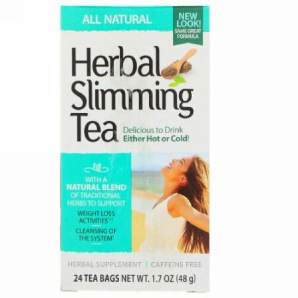 21st Century, Herbal Slimming Tea, All Natural, Caffeine Free, 24 Tea Bags, 1.7 oz (48 g)