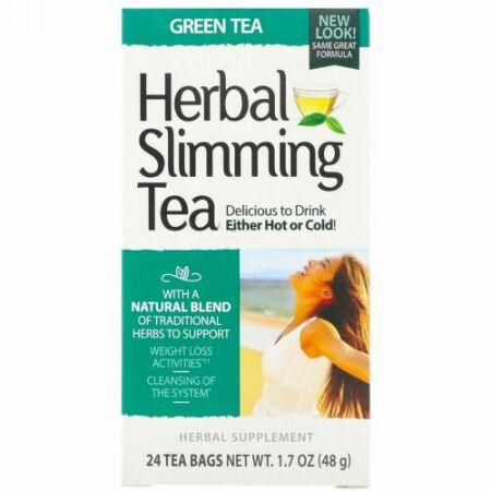 21st Century, ハーブ減量茶, 緑茶, 24ティーバッグ, 1.6オンス(45 g)