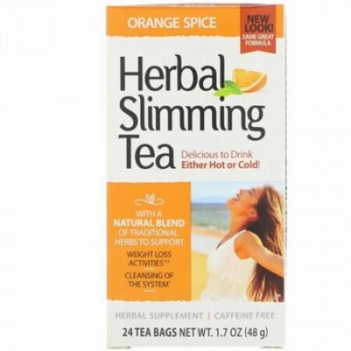 21st Century, Herbal Slimming Tea, Orange Spice, Caffeine Free, 24 Tea Bags, 1.7 oz (48 g)