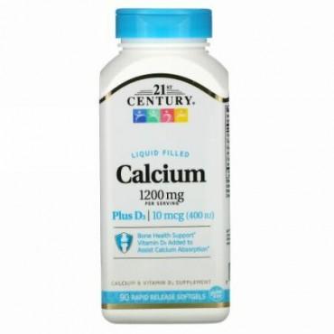 21st Century, Liquid Filled Calcium Plus D3, 1,200 mg, 90 Rapid Release Softgels