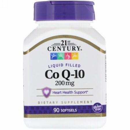21st Century, 液体CoQ-10、200mg、ソフトジェル90粒