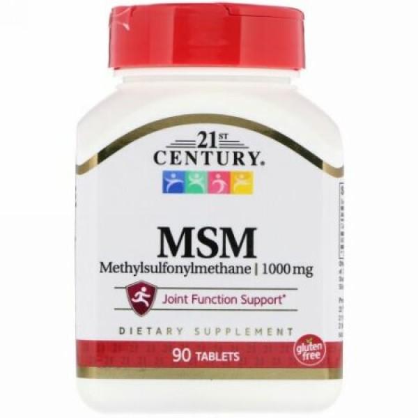 21st Century, MSM (メチルサルフォニルメタン)最大強度, 1,000 mg, 90錠