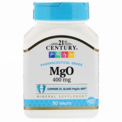 21st Century, MgO, マグネシウム オキシド, 400 mg, 90 タブレット