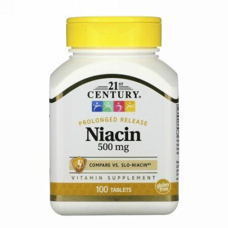 21st Century, ナイアシン、 プロロングドリリース、 500 mg、 100 タブレット
