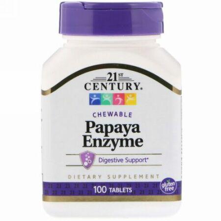 21st Century, Papaya Enzyme、チュアブルタブレット、100粒
