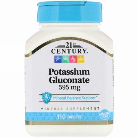 21st Century, グルコン酸カリウム, 595 mg, 110錠