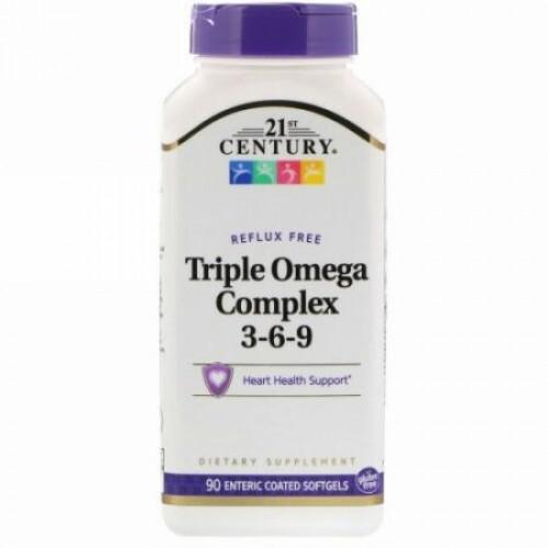 21st Century, トリプル・オメガ・コンプレックス3-6-9、腸溶性ソフトジェル90錠