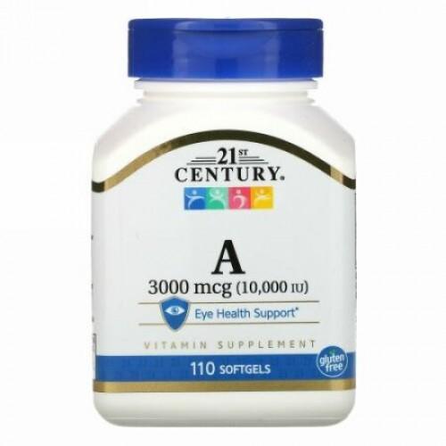 21st Century, ビタミンA、3,000mcg(10,000IU)、ソフトジェル110粒