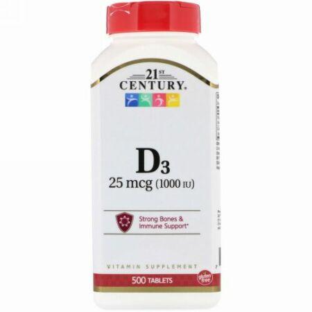 21st Century, Vitamin D3, 25 mcg (1,000 IU), 500 Tablets