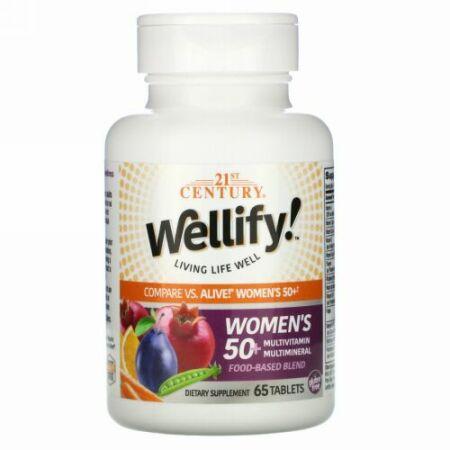 21st Century, Wellify(ウェリフィ)ウィメンズ50+マルチビタミン&マルチミネラル、65粒