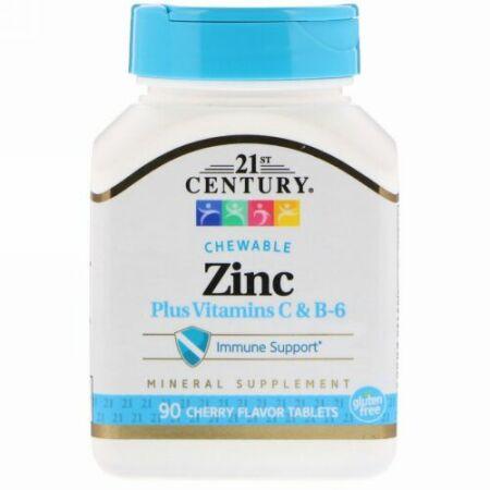 21st Century, Zinc Plus Vitamins C & B-6, Cherry Flavor, 90 Chewable Tablets