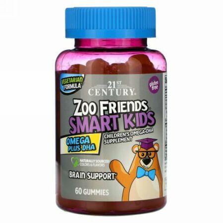 21st Century, Zoo Friends(ズーフレンズ)、スマートキッズ、オメガプラスDHA、グミ60粒
