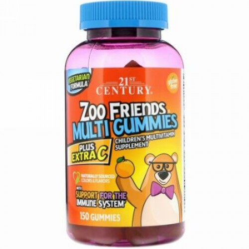 21st Century, ズーフレンズ(Zoo Friends)マルチグミ、プラスエキストラC、グミ150個 (Discontinued Item)