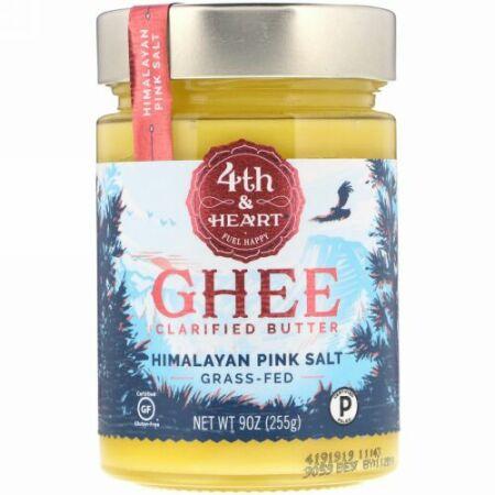 4th & Heart, ギークラリファイドバター、牧草牛の乳で作られたバター、ヒマラヤのピンク岩塩使用、225g(9oz)