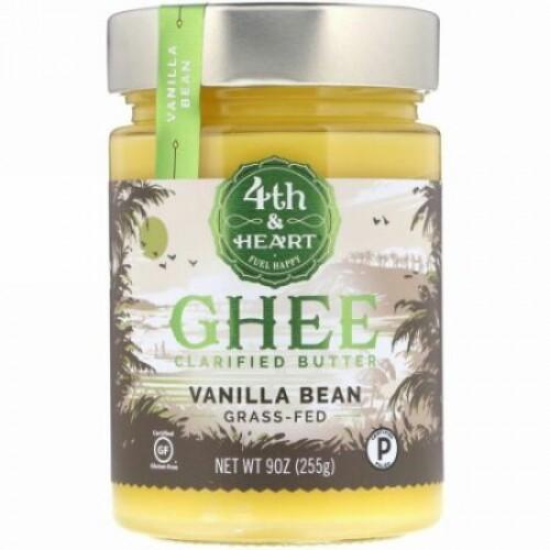 4th & Heart, Ghee Butter, Grass-Fed, Vanilla Bean, 9 oz (225 g)