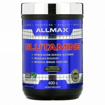 ALLMAX Nutrition, 純粋ミクロン化グルタミン100%、グルテンフリー+ベーガン+コーシャー認定、400g(14.1oz)