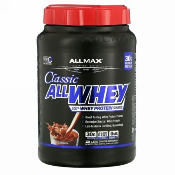 ALLMAX Nutrition, オールホエイクラシック、100%ホエイタンパク質、チョコレート、2ポンド (907 g)
