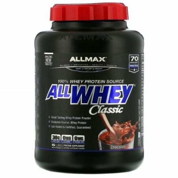 ALLMAX Nutrition, AllWhey(オールホエイ)クラシック、100%ホエイタンパク質、チョコレート、2.27kg(5ポンド)