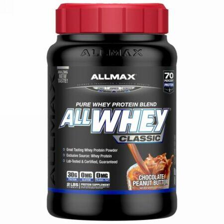 ALLMAX Nutrition, AllWhey Classic、100% hホエイタンパク質、チョコレートピーナッツバター、2 lbs (907 g) (Discontinued Item)