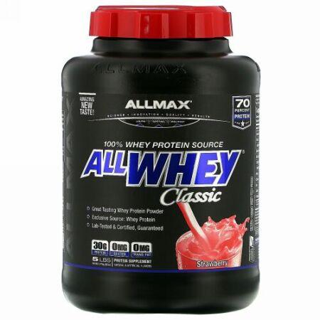ALLMAX Nutrition, AllWhey(オールホエイ)クラシック、100%ホエイタンパク質、ストロベリー、2.27kg(5ポンド)