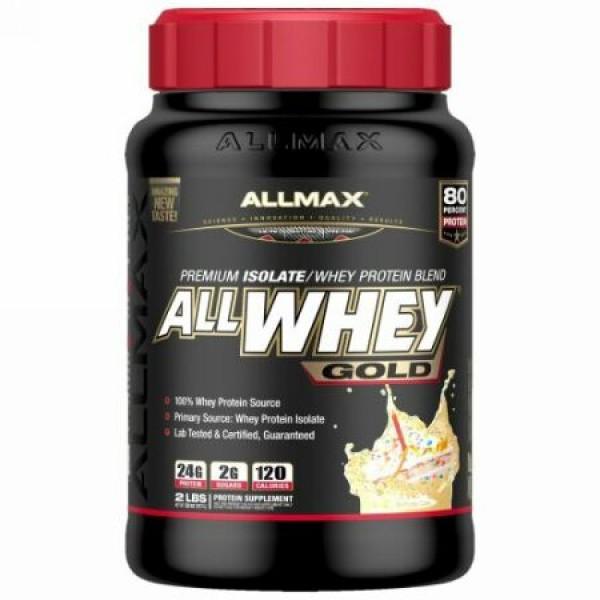 ALLMAX Nutrition, オールホエイゴールド、100%ホエイタンパク質+ プレミアムホエイタンパク質分離物、誕生日ケーキ、2 lbs (907 g) (Discontinued Item)