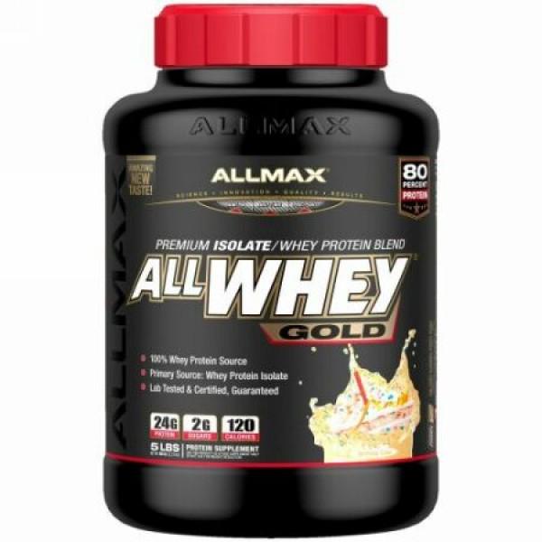 ALLMAX Nutrition, オールホエイゴールド、100%ホエイタンパク質+ プレミアムホエイタンパク質分離物、誕生日ケーキ、5 lbs (2.27 kg) (Discontinued Item)