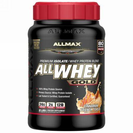 ALLMAX Nutrition, AllWhey ゴールド、100%ホエイタンパク質 + プレミアム・ホエイタンパク質アイソレート、シナモンフレンチトースト、2ポンド (907 g) (Discontinued Item)