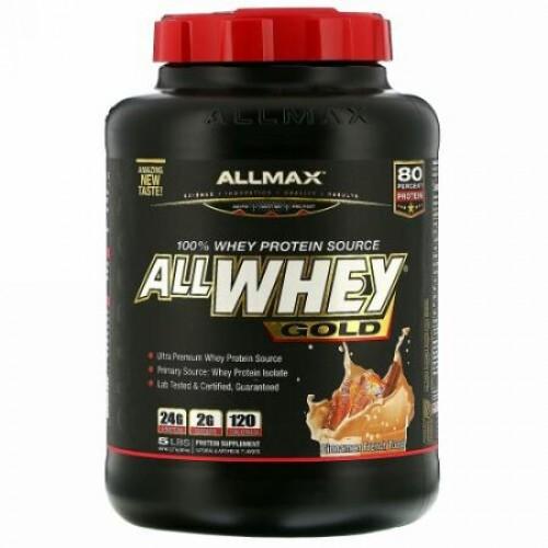 ALLMAX Nutrition, AllWhey(オールホエイ)ゴールド、100%ホエイタンパク質+プレミアムホエイタンパク質分離物、シナモンフレンチトースト、2.27kg(5ポンド) (Discontinued Item)