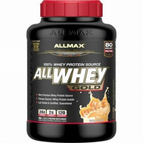 ALLMAX Nutrition, AllWhey(オールホエイ)ゴールド、100%ホエイタンパク質ソース、塩キャラメル、2.27 kg。 (Discontinued Item)