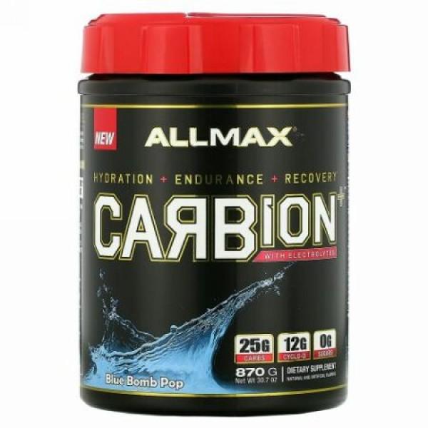 ALLMAX Nutrition, カービオン、電解質+水分補給、グルテンフリー+ビーガン認定、ブルーボムポップ、870g(1.91lb)