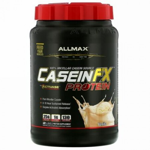 ALLMAX Nutrition, カゼインFX、100%カゼインミセルプロテイン、バニラ、2 lbs. (907 g)