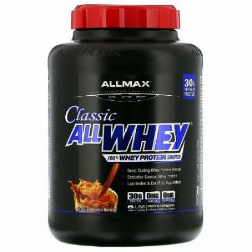 ALLMAX Nutrition, クラシックAllWhey(オールホエイ)、100%ホエイタンパク質、チョコレートピーナッツバター、2.27kg(5ポンド)
