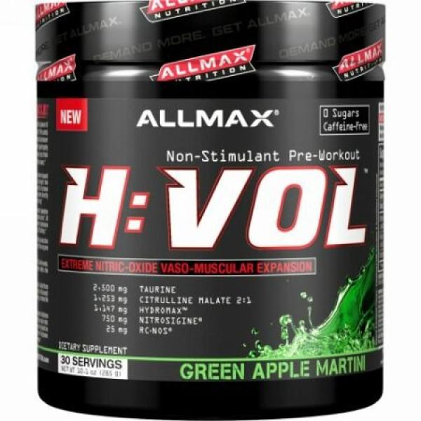 ALLMAX Nutrition, H:VOL、一酸化窒素プレワークアウト + 血管血流増大剤、グリーンアップルマティーニ、10.1オンス (285 g) (Discontinued Item)