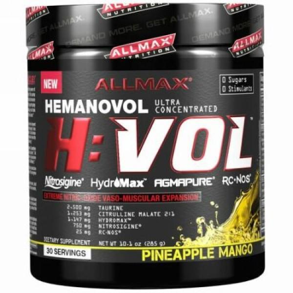 ALLMAX Nutrition, H:VOL、一酸化窒素プレワークアウト + 血管血液増大剤、パインアップルマンゴー、10.1オンス (285 g) (Discontinued Item)