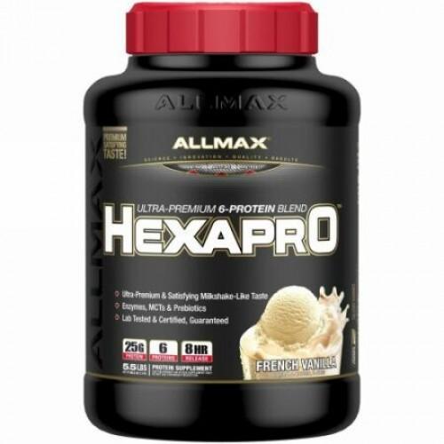 ALLMAX Nutrition, ヘキサプロ、超プレミアムプロテイン+ MCT&ココナッツオイル、フレンチバニラ、5.5 lbs (2.5 kg) (Discontinued Item)