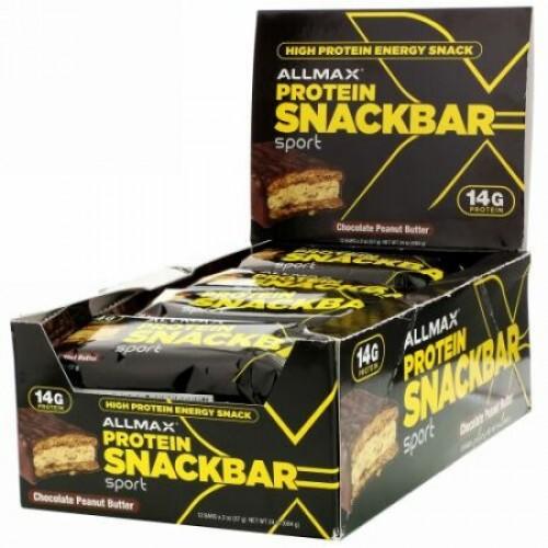 ALLMAX Nutrition, 高タンパクエネルギースナック、プロテインバー、チョコレートピーナッツバター、12本、各57 g(2 oz)