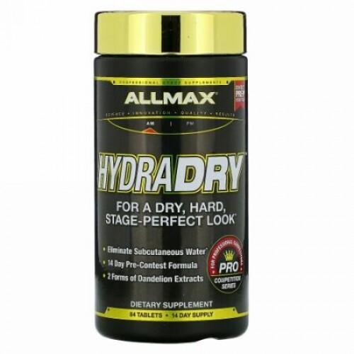 ALLMAX Nutrition, HydraDry,, 非常に効力の高い利尿+電解質安定剤、84錠